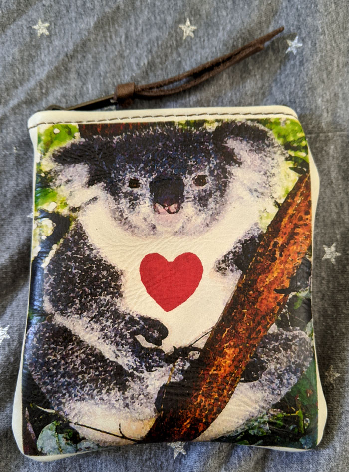 Koala on white leather brown back Zip top Coin Pouch